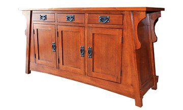 Arts And Crafts Sideboard - Crafters & Weavers Arts and Crafts Solid Oak Console Table with Three Drawers and Cabinets