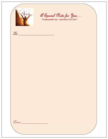 Notepad & Pen 4' x 5', (UNSPEAKABLE JOY) 50 sheets w/pen