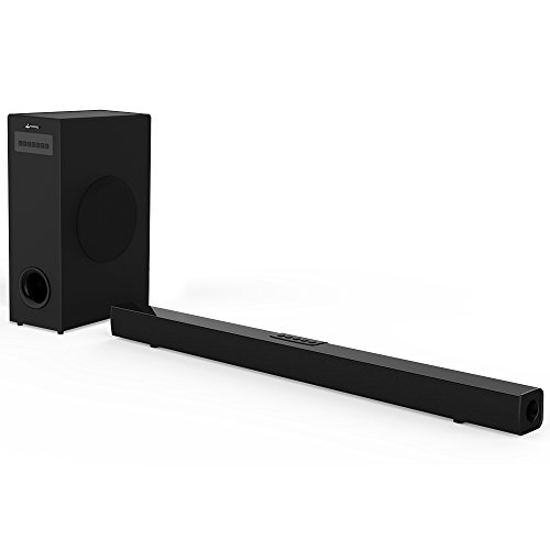 Sound Bar with Subwoofer, Meidong 2.1 Channel 72 Watt Home Theater Surround Sound Bars for TV with Strong Bass Included Optical Cable, Remote Control, Wall Mountable
