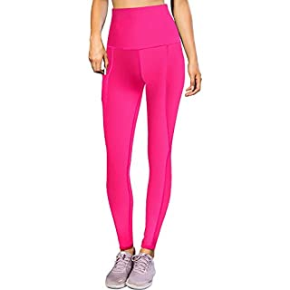 LEICHR Workout Leggings for Women, Yoga Pants Tights for Women High Waist-Tazprab, Tummy Control with Pockets【Rose Red】