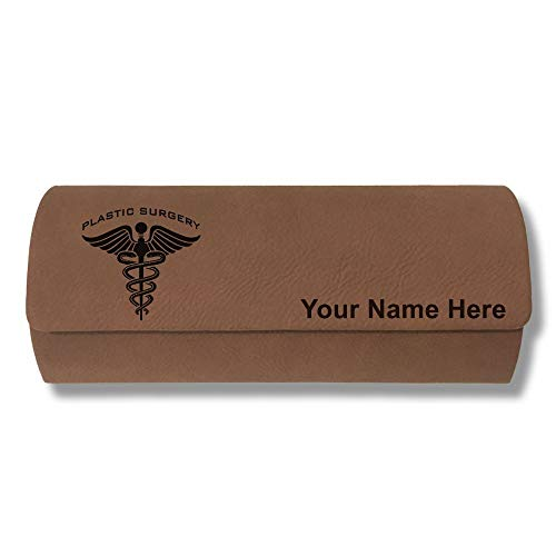 Sunglass Case, Plastic Surgery, Personalized Engraving Included (Dark Brown)