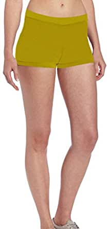 4How Womens Mid Rise Waist Boy Cut Shorts Yellow Size Small