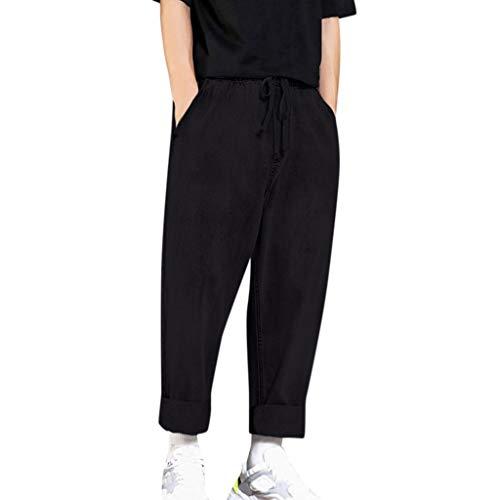 Aleola Men's Casual Denim Loose Straight Pants Jeans Long Trouser (Black,XXXXXL)