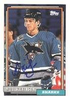 - Neil Wilkinson San Jose Sharks 1992 Topps Autographed Card. This item comes with a certificate of authenticity from Autograph-Sports. Autographed