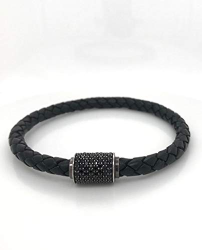 (Premium Italian Black Leather and Oxidized Silver (.925) with Pave Black Cubic Zirconia Rhodium Stone, Magnetic Clasp, 7.5