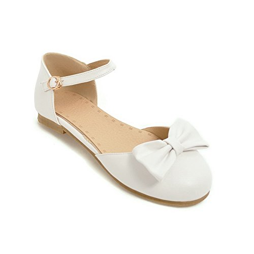 BalaMasa Baguette Sandals White Womens Toggle Urethane Road Style ASL04961 1TqapZx1w