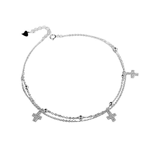 (Ankle Bracelets for Women Silver Anklets Rose Gold 925 Sterling Beach Diamond Charms Foot Jewelry Handmade Girls Adjustable Link Fish Cross White Blue Crystal Crocodile Love Heart Key Anklets w/Box )