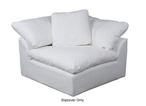 Sunset Trading SU-145851SC-391081 Cloud Puff Sofa Sectional Modular Arm Chair Performance White Furniture Slipcover