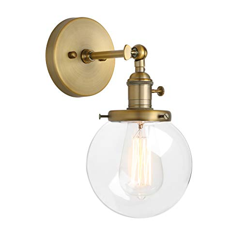 (Pathson Industrial Wall Sconce with Round Clear Glass Globe Shade, Vintage Style Wall Lamp Farmhouse Wall Light Fixtures for Loft Bathroom Bedroom)