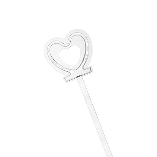 RuiLing 100pcs Plastic Floral Picks Transparent Love Shape Head Card Holders of Gift Cards, Place Cards, Photos, Food Labels for Weddings, Birthday Parties, Events, Decorations