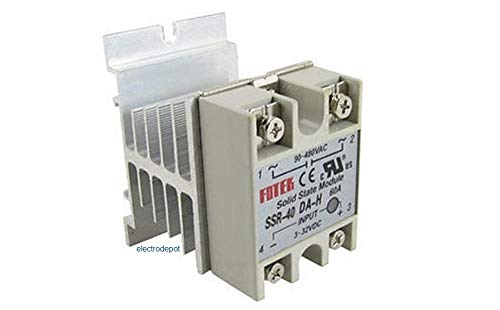 Silent Contactor, Solid State, Single Pole, 4-32VDC Coil, 40Amp AC, 90-480VAC Line w Heatsink, 30A, 40A