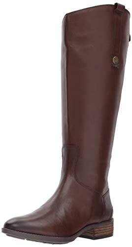 Sam Edelman Women's Penny 2 Wide Calf Leather Riding Boot Dark Brown Basto Crust Leather 8 M US (Best Tall Boots For Large Calves)