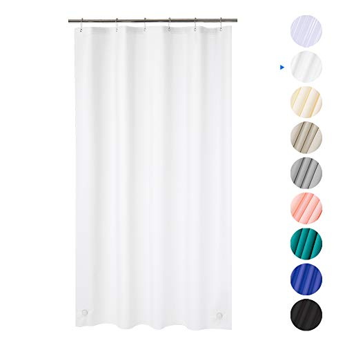 Plastic Shower Curtain, 36 W x 72 H EVA 8G Shower Curtain with Heavy Duty Stones and 6 Rust-Resistant Grommet Holes, Waterproof Thick Bathroom Plastic Shower Curtains Without Chemical Odor-Frosted