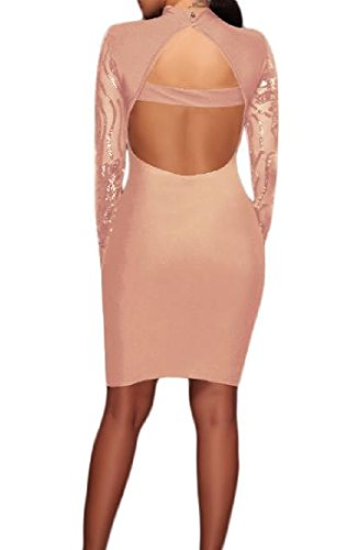 Evening Sexy Comfy Backless Dresses Bodycon Perspective Sequins As1 Womens ByqFXt