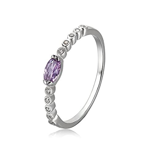 JewelryPalace Classic 0.3ct Oval Created Alexandrite Sapphire Anniversary Engagement Ring 925 Sterling Silver Size - Oval Created Sapphire Solitaire Ring