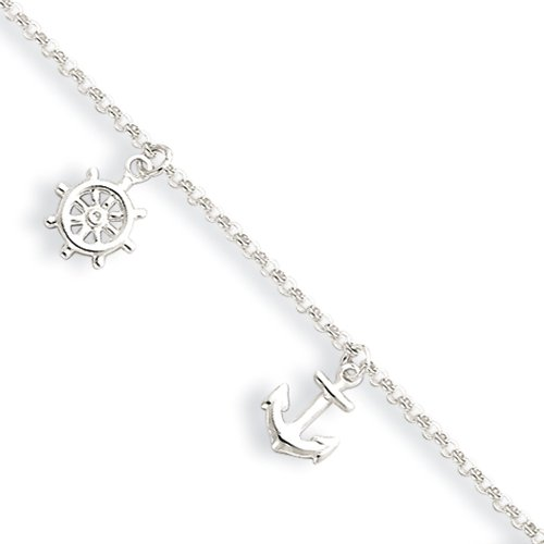Rolo Ankle Bracelet (Black Bow Jewelry Sterling Silver 2mm Rolo Chain & Nautical Charm Anklet, 9-10 Inch)
