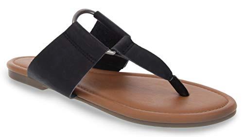 Sugar Women's Pacific Flat Thong Sandal with Ring Hardware Black 6