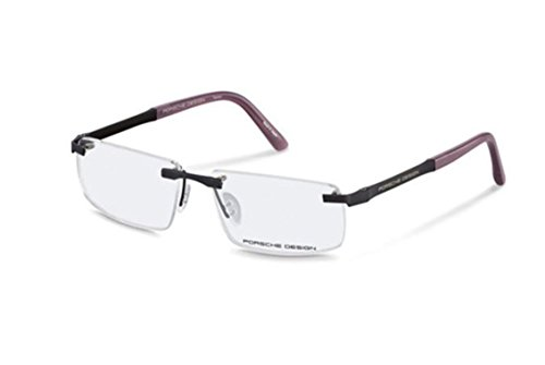 Men Eyewear Rimless Frame Porsche Design P8252 B E Black (Black with candy, 57)