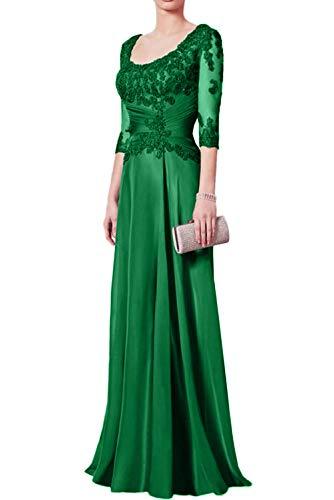 Ausschnitt Brautmutterkleider U Festlichkleider Damen Traumhaft Ballkleider Charmant Langarm Grün Lang Abendkleider txq7gpwA