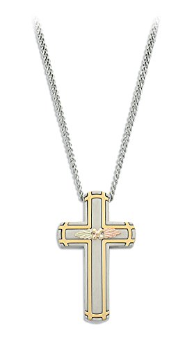- Men's Antique Cross Pendant Necklace, Stainless Steel, 12k Green and Rose Gold Black Hills Gold Motif, 24''