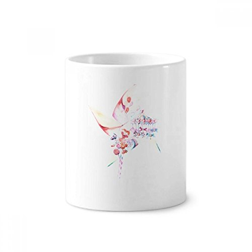 Carousel Windmill Lollipop - Taza de cerámica blanca con soporte para cepillos de dientes, pintura de acuarela, 340 ml