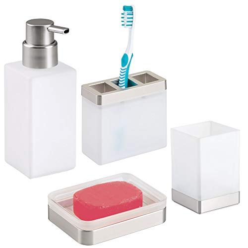 mDesign Glass Bathroom Vanity Countertop Accessory Set - Includes Refillable Foaming Soap Pump Dispenser, Divided Toothbrush Holder, Tumbler Rinsing Cup, Soap Dish - 4 Pieces - Frost/Brushed