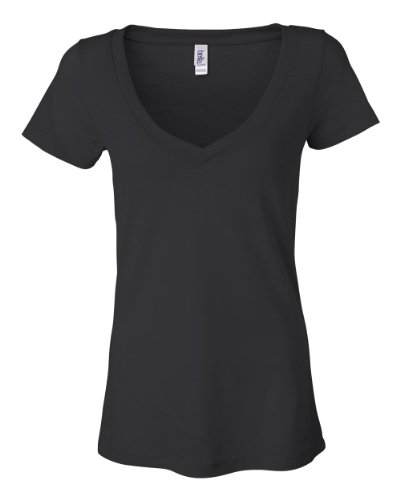 Bella Ladies' Simone Burnout V-Neck T-Shirt 8605, Large, Black