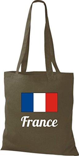 shirtinstyle Bolsa de tela bolsa de algodón länderjute Francia Francia - fucsia, 38 cm x 42 cm Oliva