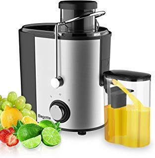 Bagotte Compact Juice Extractor Fruit and Vegetable Juice Machine Wide Mouth Centrifugal Juicer, Easy Clean Juicer, Stainless Steel, Dual-Speed, 400w, BPA-Free ()