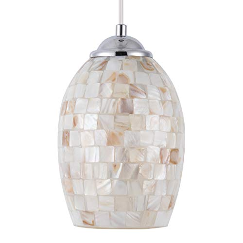 SHENGYADI Coast Mini Pendant Light with Hand Crafted Mosaic Shell Shape Modern Glass Pendant Lighting for Kitchen Island Living Room Bedroom Bar Cafe Shop, Chrome Finish (Pendant Capiz Small)