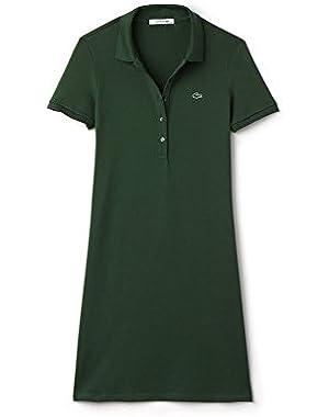 Lacoste Women's Women's Green Pique Polo Dress With Logo. in Size 40-L Green
