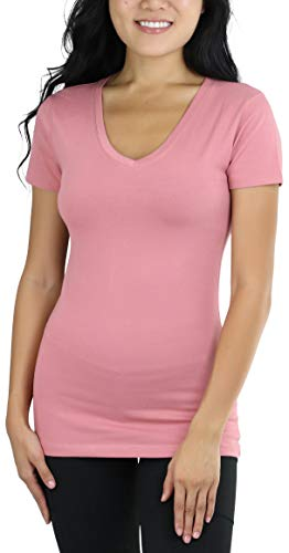 Dusty Pink Cotton - ToBeInStyle Women's Short Sleeve V-Neck Basic T-Shirt - Dusty Rose - L