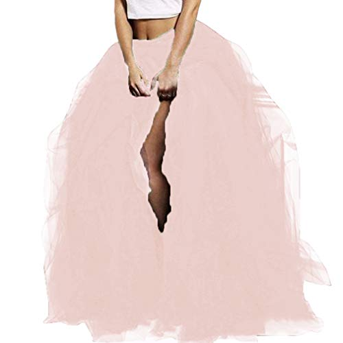 (WDPL Long Women's Special Occasion Slit Tulle Evening Skirt (Blush Pink, X-Large))