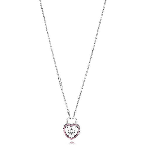 PANDORA Lock Your Promise Necklace, Fancy Fuchsia Pink CZ 396583FPC-60 cm 23.6 in