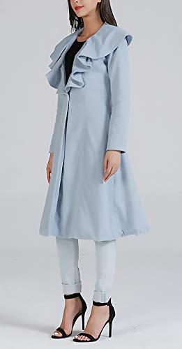 Chaqueta De Largo Slim Mujer Elegantes Sólido Abrigo Primavera Exteriores Ropa Color Azul Fit Otoño Prendas Valance Lana Manga Largos Fashion Con Chic 8wUUTvq