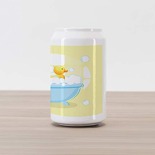 Lunarable Duckies Cola Can Shape Piggy Bank, Rubber Duckling Swims in Freestanding Bathtub Filled with Bubbles Baby Bath Toys, Ceramic Cola Shaped Coin Box Money Bank for Cash Saving, Multicolor ()