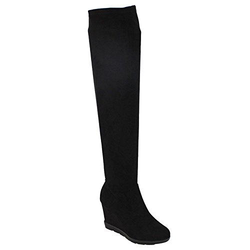 Betani Diana-1 Women's Stretchy Over The Knee Platform Wedge Boots,Black,7