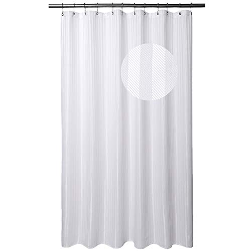 Barossa Blend - Barossa Design Extra Long Shower Curtain Fabric with 84 Inch Height, Hotel Grade, Machine Washable, Water Repellent, 160 GSM Heavyweight, White Stripe Damask, 71x84 Inches