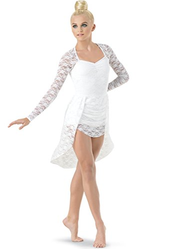 Balera Lyrical Dance Dress Long Sleeve Stretch Lace Back Panel Skirt With Built-In (Long Sleeve Pinch Front)