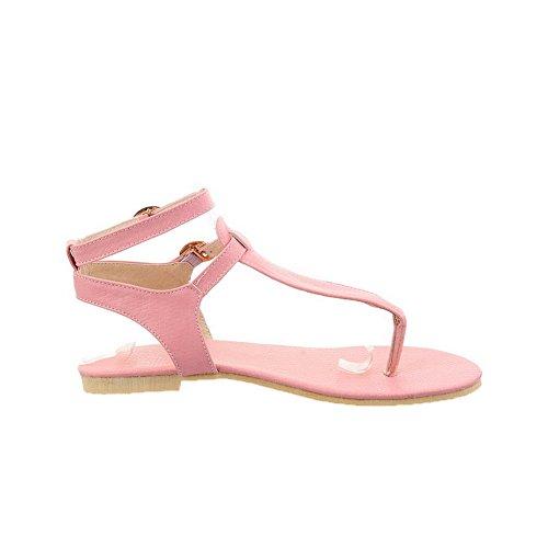 AalarDom Mujer Hebilla Puntera Dividida Mini Tacón Esmerilado Sólido Sandalias de vestir Rosa