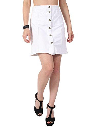 Pilot bolsillo de parche botón frontal mini falda blanco