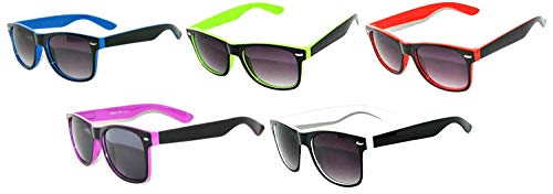 Vintage Two Tone Sunglasses Smoke Lens Classic Retro Style (5_Pack-Blue_Green_Orange_Red_Yellow, ()