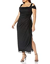 Alex Evenings Women's Plus Size Cold-Shoulder Dress Side Ruched Skirt