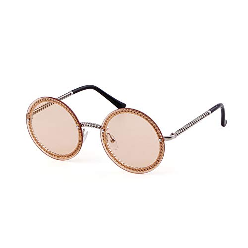 Round Rhinestone Sunglasses Women Metal Frame With Crystal Shades Summer Sun glasses (Silver Light Tea Lens, ()