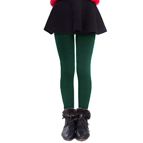 Tengo Girls Winter Warm Fleece Lined Elastic Waist Thick Leggings(Green,S/100)