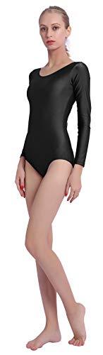 Speerise Womens Long Sleeve Dance Ballet Leotard Bodysuit, Black, S