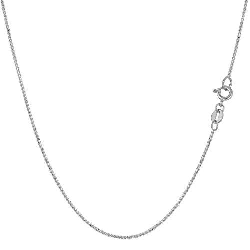14k White Gold Round Diamond Cut Wheat Chain Necklace, 0.6mm, 16