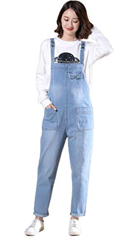 Soojun Women's Casual Baggy Denim Bib Overall, Light Blue, Medium