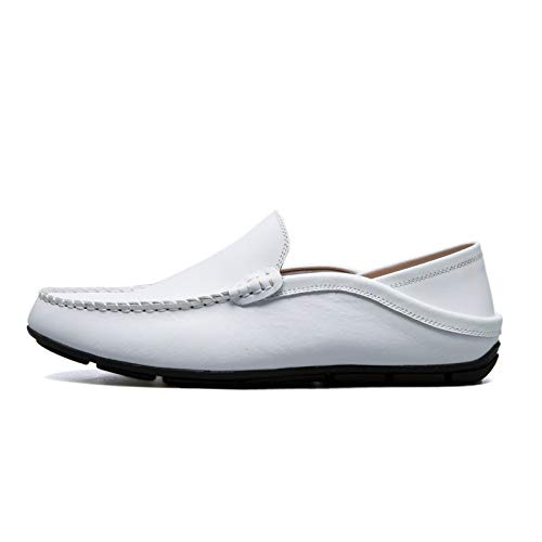 men Fashion Leather Leather White1 Handmade On Shoes Leather Genuine Men Flats Black1 9 Soft Loafers Slip Men Shoes fITOYvI