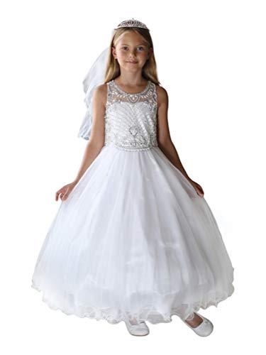 Angels Garment Big Girls White Beaded Satin Tulle Bolero Communion Dress 8 from Angels Garment